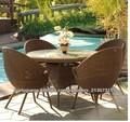 2013 Jardim Rattan Móveis de vidro mesas de café mesa e cadeiras conjunto