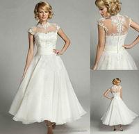 elegant white lace high neck Halter sleeveless wedding apparel