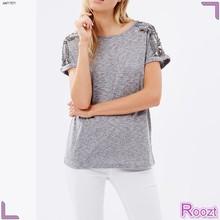 OEM Service Casual Beaded Short Sleeve Summer Cheap T-Shirt Women