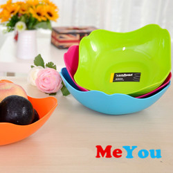 plastic fruit plate and salad bowl