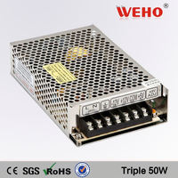 Professional manufacturer 50W Triple output switching dc power supply 50v