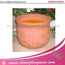 Citronela vela perfumada en la jarra de cerámica/vela al aire libre