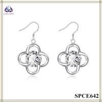 Fancy Earring Designer Flower Shape Pendant Earring With Clear Crystal