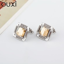 2015 white color crystal earring,fashion Earrings Unique costume Stock wholesale fashion statement stud