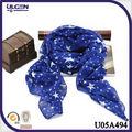 2014 bufandas baratos de moda azul zarifo para mujeres impresión de moda con estrellas bufanda voile