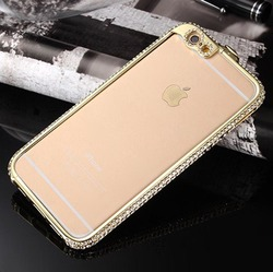metal bumper with diamond crown aluminum transparent back cover case for iphone 6/6s