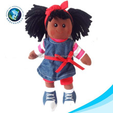 2015 Fashion african girl dress up doll soft stuffed plush black doll