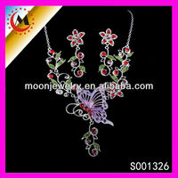 GARNET COSTUME JEWELRY NECKLACE AND EARRING SETS FLOWER WITH BUTTERFLY FOR BRIDAL WEDDING SETS