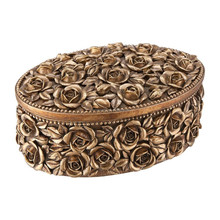 Roses Oval Jewelry Box in Antique Gold