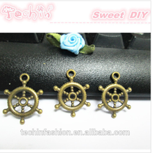 Hot Bronze Antique Brass Metal Charms Boat Wheel Jewelry Accessories Nickel Free