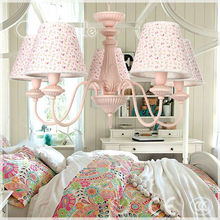 girl pink steel and fabric hanging contemporary chandelier lighting