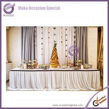 k5918 fancy elegant beautiful swag Plain Ruffled Custom Design Promotional Price white table skirting for wedding/ parties/ meet