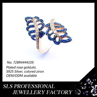 Latest fashion Double leaves micro paved Blue stones women's rings wholesale lucky stone finger ring