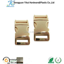 "5/8"" gold metal side release buckle for pet collars,metal belt buckle,5/8""(16mm) curved metal buckles for bags"