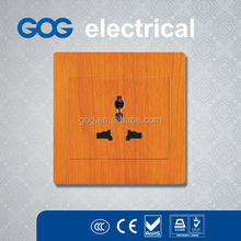 3 pin multi electrical socket wood color