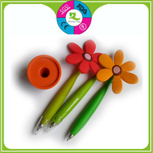 Whloesale Cheap Promotional silicone flower ball pen with pot ,advertising ball pen