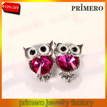 PRIMERO 2015 Hot sales new Design Fashion Elegant rhinestone owl earrings Animal shapes jewelry Accessories wholesale