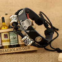 Men Women Unisex Multi thong braided thin skull Leather Bracelet wristband Jewelry Items strand bangle