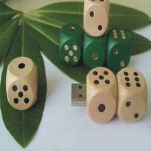 High quality dice shape wooden usb flash drive