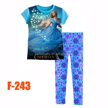 Grande ragazze cinderella set pigiama bambini autunno- set di abbigliamento estivo nuovo 2015 ingrosso bambini vestiti cartoon 8-12y f243 244 3d
