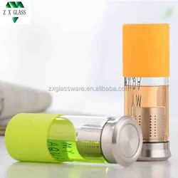 Glass Sports Water Bottle / Glass Bottle for mineral water /Custom Glass Water Bottle with long s/s filter 450ml