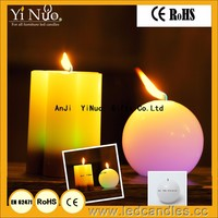 LED Color Changing Real Flame Festival and Party Smiling round ball shaped Candles