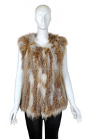 YR-593 Factory wholesale knitted red fox fur vest