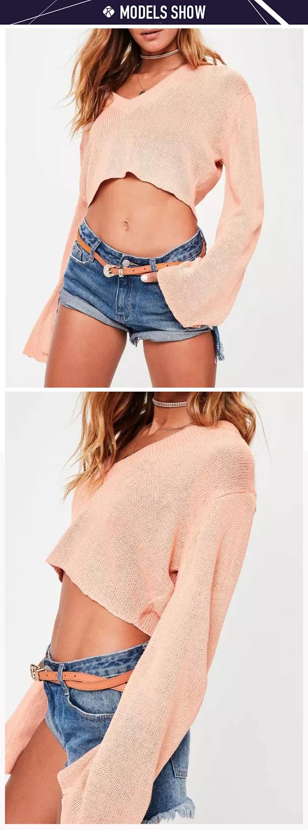Custom sexy girls v neck flare sleeve knit jumper hot cropped sweater design for women.jpg