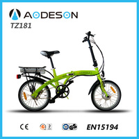 "18""aluminium alloy mini folding electric bike TZ181 with 24V 250w Bafang Brand motor for sale"