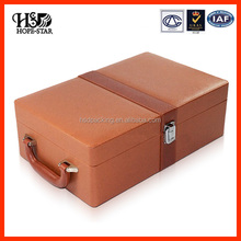 Customize handmade PU Leather Wooden box Wine Packaging Gift Box/Wine Bottle Carrier Case