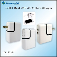 Universal 2 Ports usb Travel AC adapter Foldable Charger