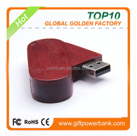 cheap promotion pen drive direct from china, Christmas gift swivel wooden usb with FCC rohs CE