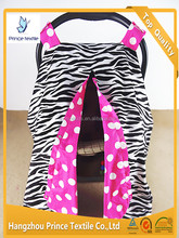 Baby Canopy Infant Zebra With Pink Polka Open Sun Protection Car Seat Cover