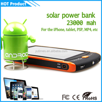 2015 wholesale waterproof high capacity solar mobile power bank , low price of 23000 mah power bank