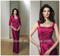 2013 Gorgeous sheath straps ruffle taffeta floor length hot pink mother of the bride evening sequins beaded dresses md101