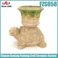 Moss tortoise shaped clay flower pot