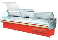 curved glass self service cooked food display cooler