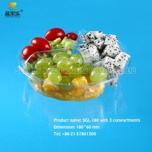 hot sale clear plastic disposable salad container SGL-180 three compartments