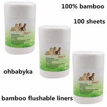 Ohbabyka 100 sheets/bag Baby Disposable Liners,Biodegradable Liners, Bamboo Fabric Flushable Nappy Liners