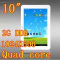 Quad core 10 pulgadas 2g ddr 4.2 androide tablet pc con doble cámara 5.0mp