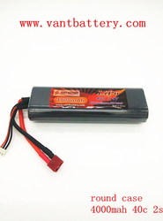 hot selling !! RC round case Lithium polymer battery Vant Hard Case 7.4v 4000mah 40C rc cars battery