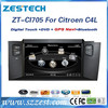 2 din touch screen car dvd gps for Citroen C4L car dvd gps with radio RDS 3G BT ZT-CI705