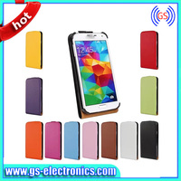 Hot selling 2013 genuine leather flip wallet cases for samsung galaxy s4 with stand function