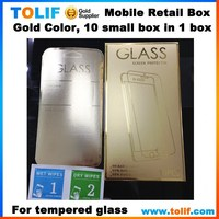 Mobile phone screen protector tempered glass gold color retail box packaging for iphone samsung lg nokia motorola