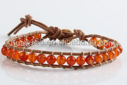 Simple handmade natural red agate bracelet
