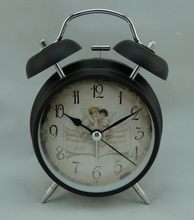 Cheap antique creative style simple and fashion gold twin bell metal alarm clock