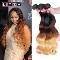 Wholesale top quality 100% human ombre hair braiding hair body wave 3 tone color ombre hair