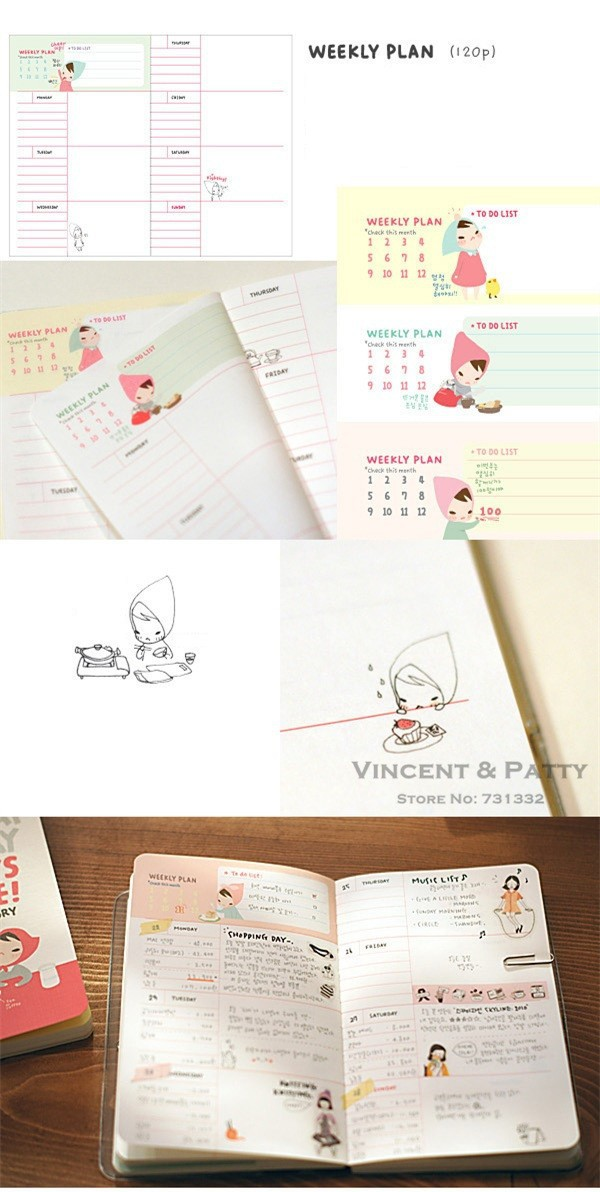 Cute Notebook Red hat girl Agenda week plan Diary Day planner journal record stationery office School supplies 6451 MEDIAHOST.us