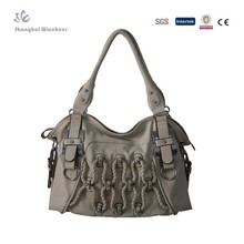 2014 Original design ladies PU Handbag with trim braided strape