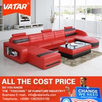 VATAR chairs u shaped red half round leather sofa